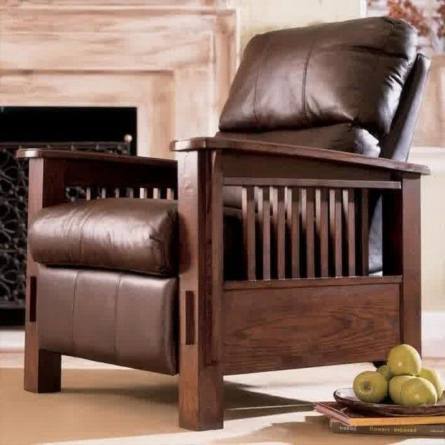 mission style recliner chair decorating living room chairs pinte