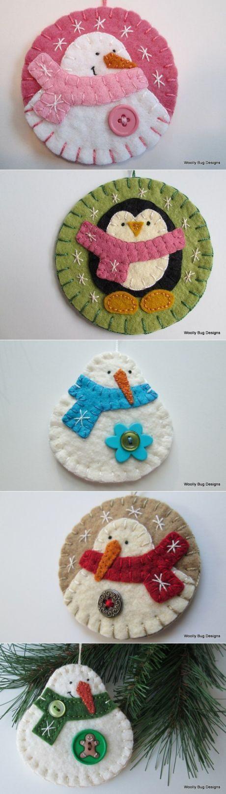 Toys from felt on a fir-tree. Ideas for inspiration.