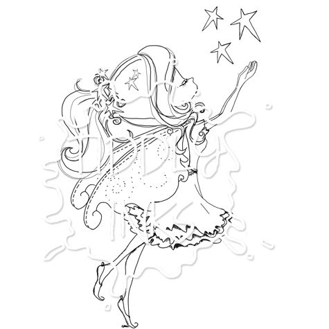 Fairy Fae Star Stamp - Fairy Digital Stamps by Tiddly Inks