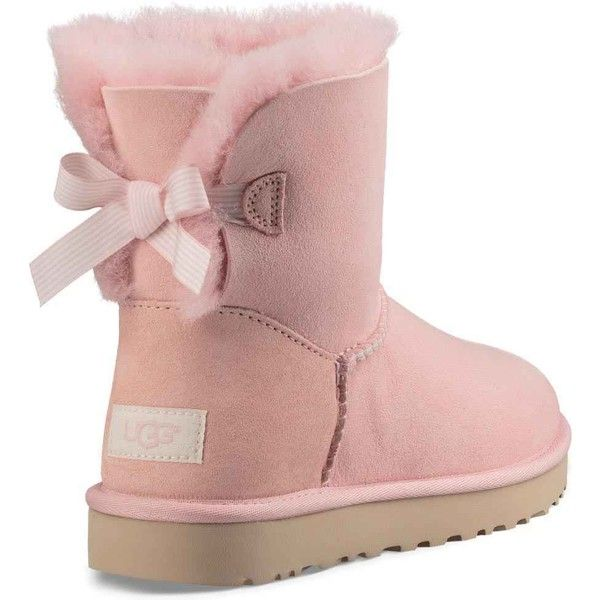 UGG Women's Mini Bailey Bow Stripe Petal Boots ($150) ❤ liked on Polyvore featuring shoes, boots, ankle boots, pink, patent leather ankle boots, lightweight boots, pink ankle boots and pink boots