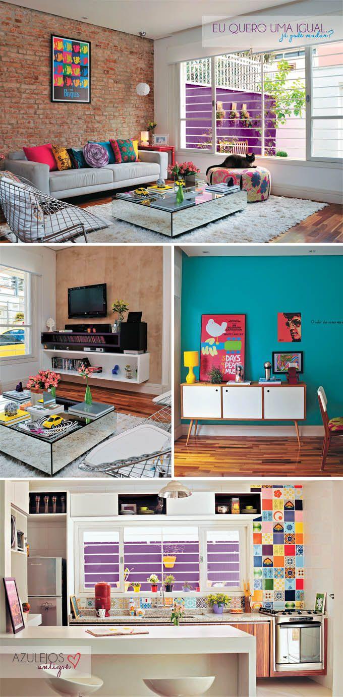 Sabe aquela casa que junta tuuudo que você acha mais lindo nesse mundo? É essa a casa. Sofá cinza, parede de tijolinhos, muita cor, azulejo...