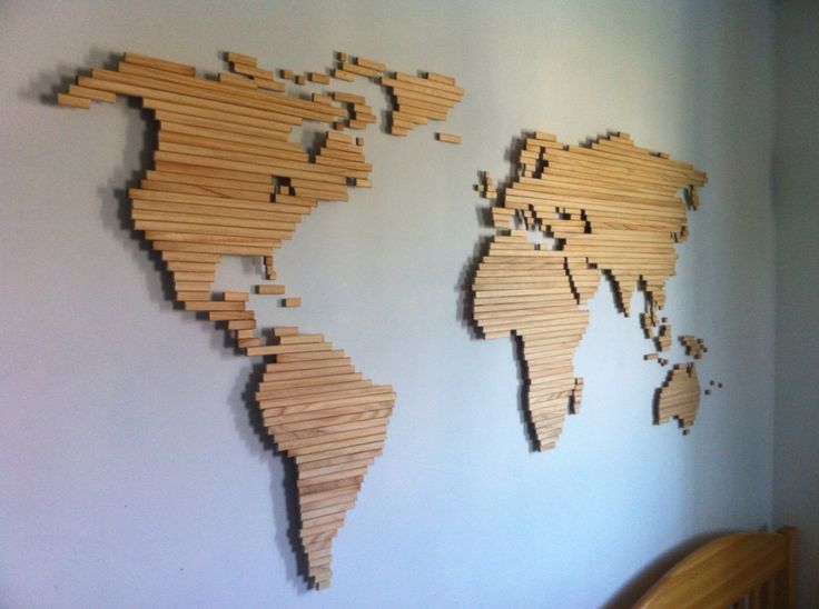 Wooden world map. More
