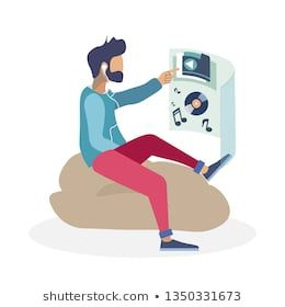Augmented Reality Rest, Lounge Zone Illustration. Man in Earphones Listening Music Cartoon Character. Guy Interacting with Virtual Interface. Technolo…