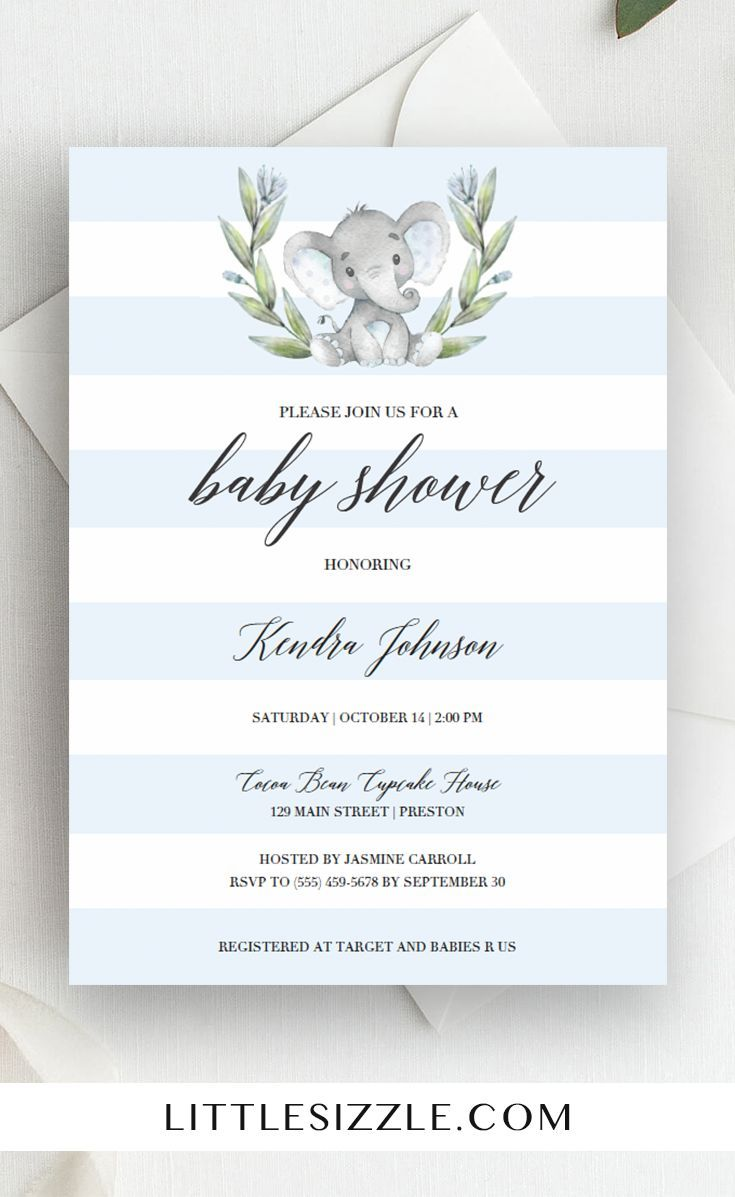 Elephant baby shower ideas for boy by LittleSizzle. Blue elephant baby shower invitation template. This cute invite with blue and white stripes is perfect to celebrate the arrival of a little boy. The watercolor grey baby elephant with green wreath is just too cute! Complete the look with our matching blue baby shower games and elephant themed decorations. #printable #DIY #boybabyshower #babyshowerideas #babyshowerthemes #invitationtemplate