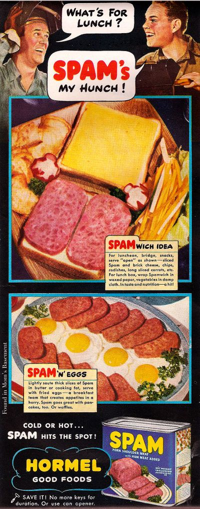 1943 ad for Spam.  Interesting!  No more keys for the duration