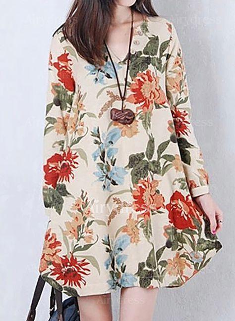 Vestidos Informal Floral Acima do Joelho de Algodão Manga comprida (1107760) @