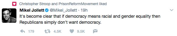 It's become clear that if democracy means racial and gender equality then Republicans simply don't want democracy.