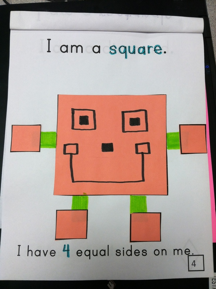 To learn about shapes and their attributes (how many sides, etc.) we create a fun shape people book. When they create the shape people, they have to make the eyes, nose, and mouth into whatever shape the body is.