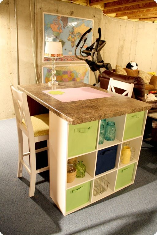 Good idea for a DIY kitchen island too. Add some wood for bottom storage between the two shelves also! May do this!