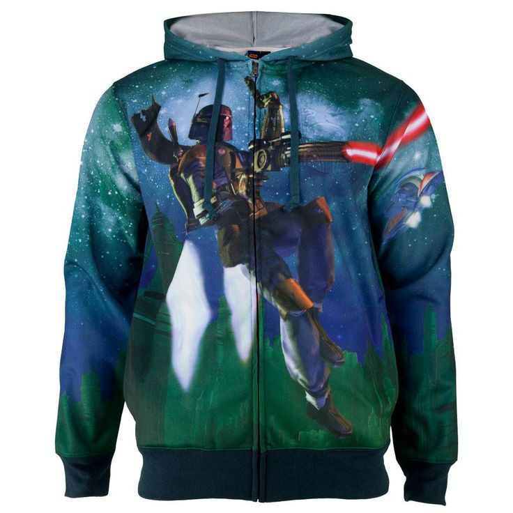 Star Wars - Bobas Flying Sublimated Costume Adult Zip Hoodie