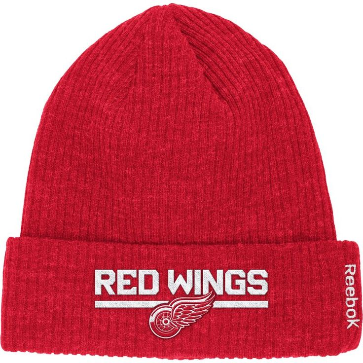 Reebok Men's Detroit Red Wings Center Ice Cuffed Knit Hat, Team