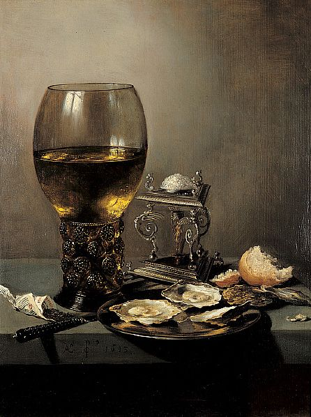 Still Life with Oysters; 1643, Pieter Claesz