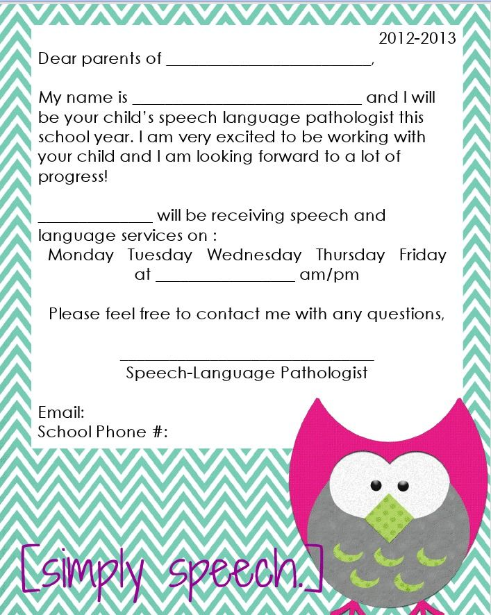 Parent letter... Free download [simply speech.]