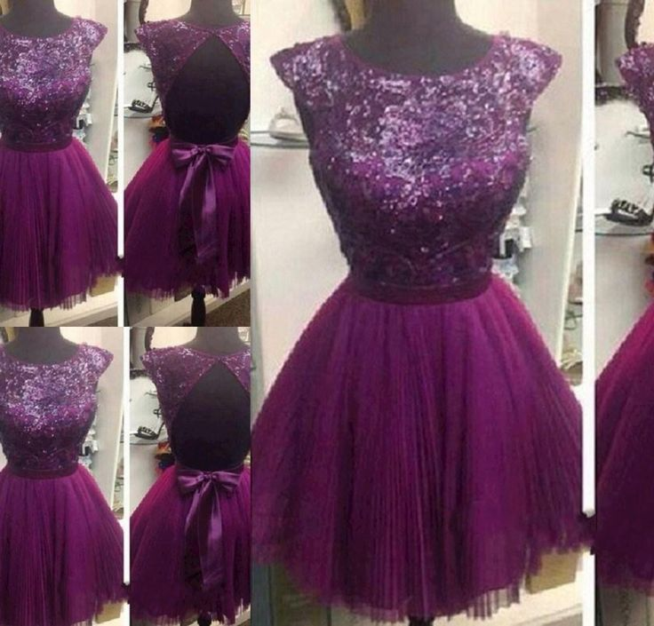 New Arrival Custom Made Homecoming Dress, Lace Graduation Dress,sexy open back prom dress,purple sequins party dress