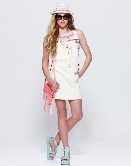 Patti Knit Halter Top + Hadley Dress + LA Wedge Shoes + Free Spirit Bag + Tassle Necklace | Pavement United Brands #gumclothing #knit #top #halter #girls #tween #teen #fashion #denim #ecru #dress #overalls #shoes #fringe #bag #coral #accessory #jewellery #necklace #sunnies #pavementbrands