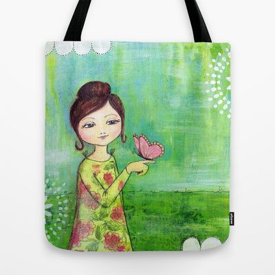 Hello Butterfly Tote Bag by Stina Glaas - $22.00