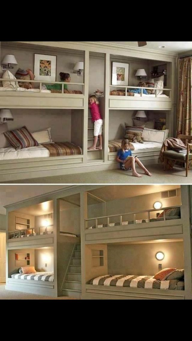 These amazing bunk beds, that are built into the wall!!  How amazing and creative!  I feel like I need this in my house one day, even if I don't have enough kids or people to fill them!