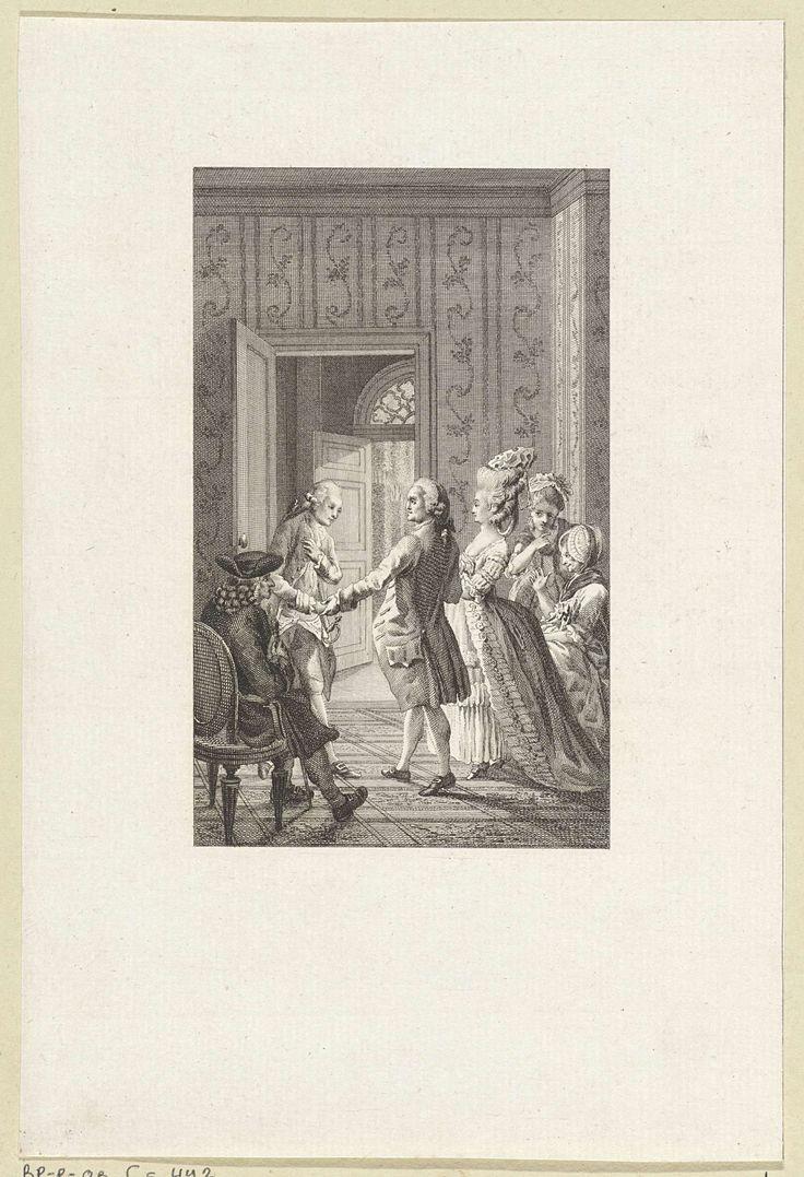 Reinier Vinkeles   Twee mannen schudden elkaar de hand, Reinier Vinkeles, 1790   In een vertrek geven twee mannen elkaar een hand. De ene man heeft een vrouw aan zijn arm. Achter haar rug fluisteren twee meisjes met elkaar.
