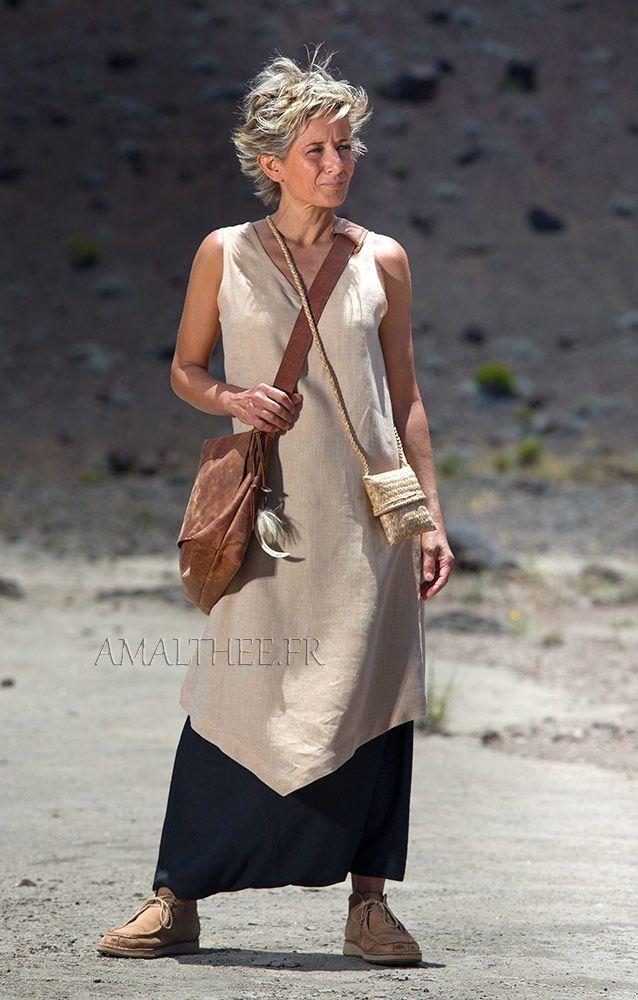 tunique longue en lin en lin beige et sarouel noir-:- AMALTHEE CREATIONS-:- n° 3423
