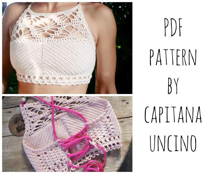 PDF-file for Crochet PATTERN, Luna cropped Crochet Top Sizes XS-L, bikini top by CapitanaUncino on Etsy