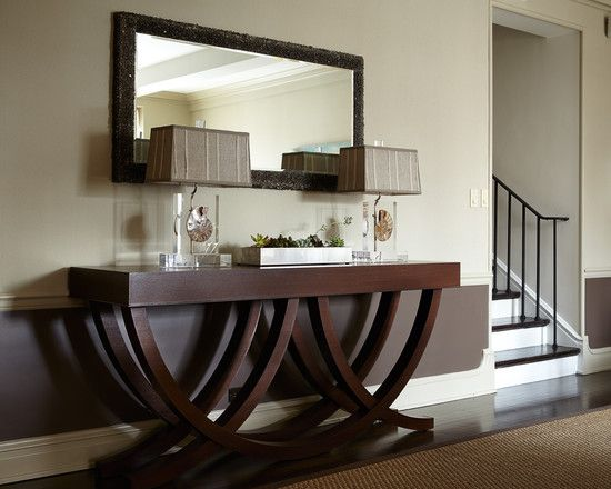 Furniture, Contemporary Hall With Brown Mahogany Wood Extra Long Console Table Also Twin Elegant Table Lights Also Unique Mirror Frame With ...