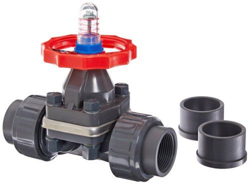 "Hayward DAB1012UFF DAB Series PVC Diaphragm Valve, FPM Diaphragm, FPM Seals, 1-1/4"" Socket and Threaded Connections  PVC valve for resistance to corrosion and less weight than metal  FPM diaphragm and seals for use with petroleum oils, diester base lubricants, silicate fluids and greases, halogenated hydrocarbons, acids, and vacuum environments  Wheel handle for manually opening and closing valve  Pressure rating of 150 psi at 70 degrees F under non-shock conditions; operating temperat..."