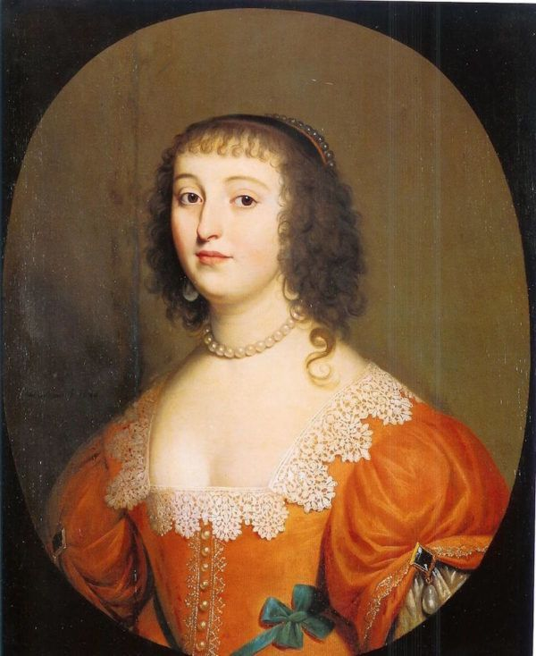 One of two examples of where fashion is headed, with lower necklines, higher waistlines, and fuller sleeves. Portrait of Elisabeth of Bohemia, 1636.
