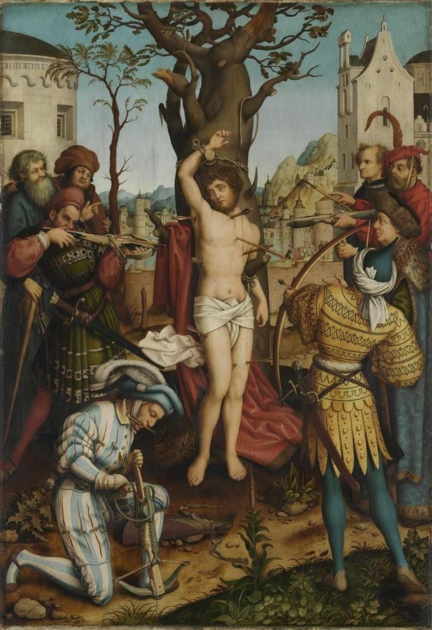 http://www.pinakothek.de/sites/default/files/imagecache/thumb_lightbox_light/gemaelde/original/7562_11715-h_1_0.jpg Hans Holbein d. Ä. (1465-1524) St. Sebastian Altar; Central panel: Martyrdom of St. Sebastian (1516)