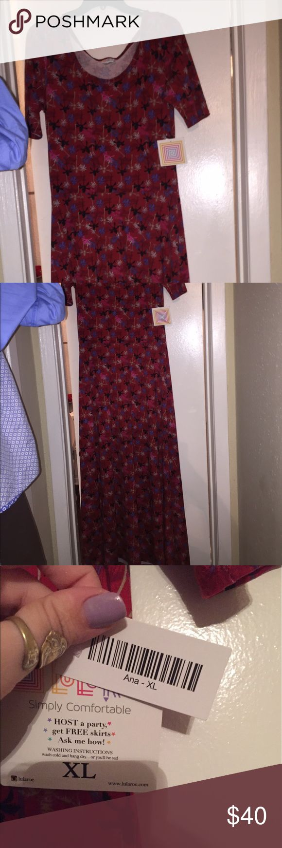 Lula Roe Ana dress Lula Roe dress style Ana it is a maxi dress I bought it and it's a little to snug and to long for me I'm 5'1. Brand new this dress is 60$. Brand new dress will take offers. LuLaRoe Dresses Maxi