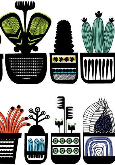 Beautiful, graphic Illustration by Stephen Crowhurst (via Print & Pattern) #StephenCrowhurst #cactus #flora.