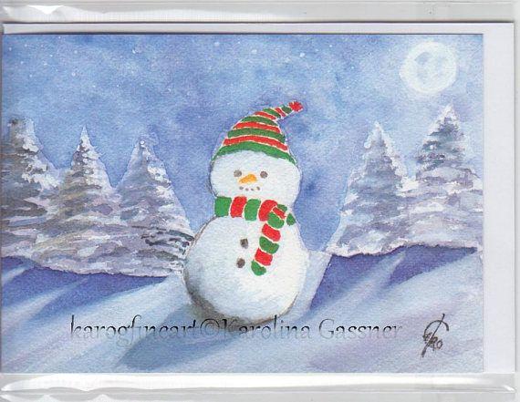 Snowman Christmas Card Greeting Card Xmas Card