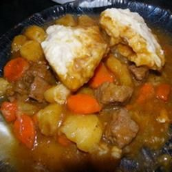 "Mom's Hearty Beef Stew with ""Bisquick"" brand (""Northern-style"") fluffy dumplings (recipe @ Allrecipes.com)"