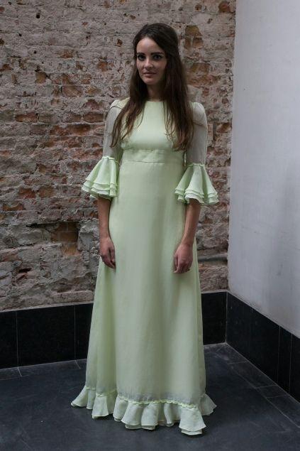 Mint groene jaren 60 jurk met strik op de rug