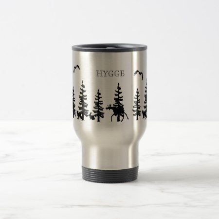 Nordic Hygge with forest and animals in black Travel Mug - tap to personalize and get yours