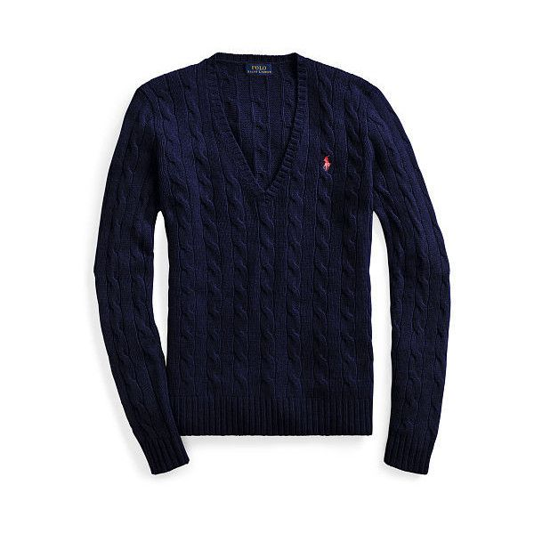 Polo Ralph Lauren Cable-Knit V-Neck Sweater ($99) ❤ liked on Polyvore featuring tops, sweaters, blue cable knit sweater, slim fit sweaters, polo sweater, ribbed v neck sweater and v neck cable knit sweater