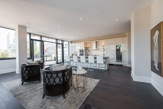 Kitchen Family Room Walk-Out To Terrace 36 Hazelton Ave Suite 4A Luxury Yorkville Condo For Sale Victoria Boscariol Chestnut Park Real Estate