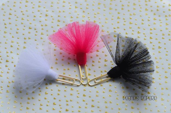 Tutu Tulle on Gold Paper Clip Planner Clip Bookmark for Your Erin Condren Filofax Kikki K Planner Accessories Supplies