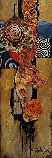 Demo at HSV by Carol Nelson mixed media ~ 12 x 3