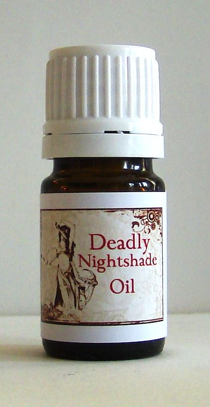 DEADLY NIGHTSHADE OIL: (Atropa belladonna) SABBAT VISIONARY CONSECRATIONS Deadly Nightshade takes you into the darkness of the Underworld to rediscover the GrandMother and GrandFather Ancestors who wait there to teach and guide us. Belladonna has the mercurial ability to activate astral journeys, scrying (remote viewing techniques) and clairvoyance...instilling a skill for the visionary arts.  Belladonna is one of the most traditional Witches' herbs' under the feminine guardianship of Saturn…