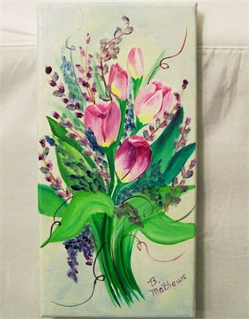 This is an original Painting   Oil Painting, Original 6x12, Painting of Tulip Flowers on Light Shaded Background, Painted in the USA,   Listing is for the Tulips painting ONLY   It is one of a set of 4 -Purchase 1 or purchase them all for a beautiful set. to make a 12x24 grouping   Size 6X12  Title- Tulips  Medium- Oils  Colors--Blues, Greens, White, Magnetia, Pinks  On a Gallery wrap 3/4 canvas   This painting was inspired by beautiful flowers in a garden .   the last picture shows all...