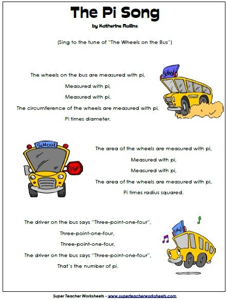 """The Pi Song... Sing to the tune of """"Wheels on the Bus"""" - Teaches Circumference, Diameter, and of course, Pi!"""