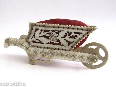 Antique English Wheel Barrow Pin Cushion w/Pierced Leaf Design; Circa 19th Century: Speldenkussen