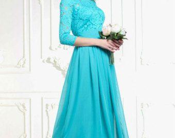 Bridesmaid Turquoise dress long Turquoise lace dress por Dioriss