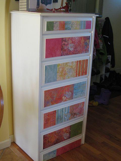 Mod Podge dresser drawers
