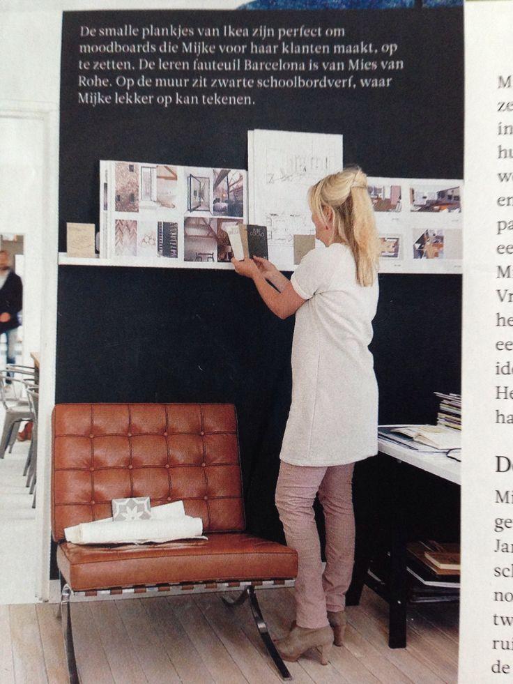 Leren fauteuil voor zwarte schoolbordverf. 101 Woonideeën, mei 2014