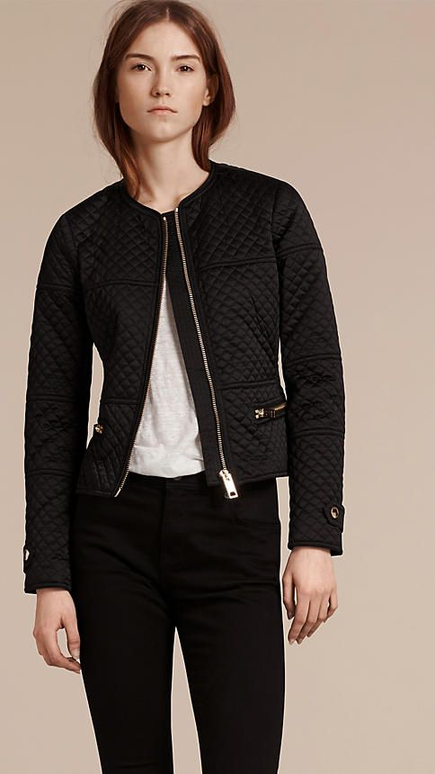 Black Panel Detail Diamond Quilted Collarless  Jacket #Burberry