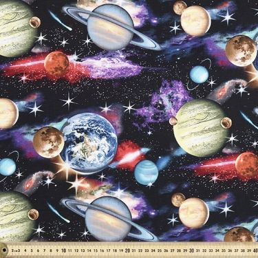 In Space Planets Printed Cotton Fabric Black 112 cm