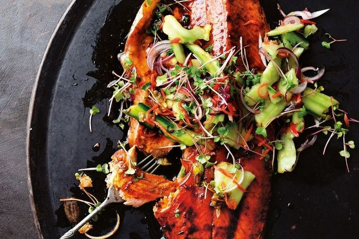 A ginger-maple glaze sweetens up this ocean trout, with smashed cucumbers for crunch and texture.