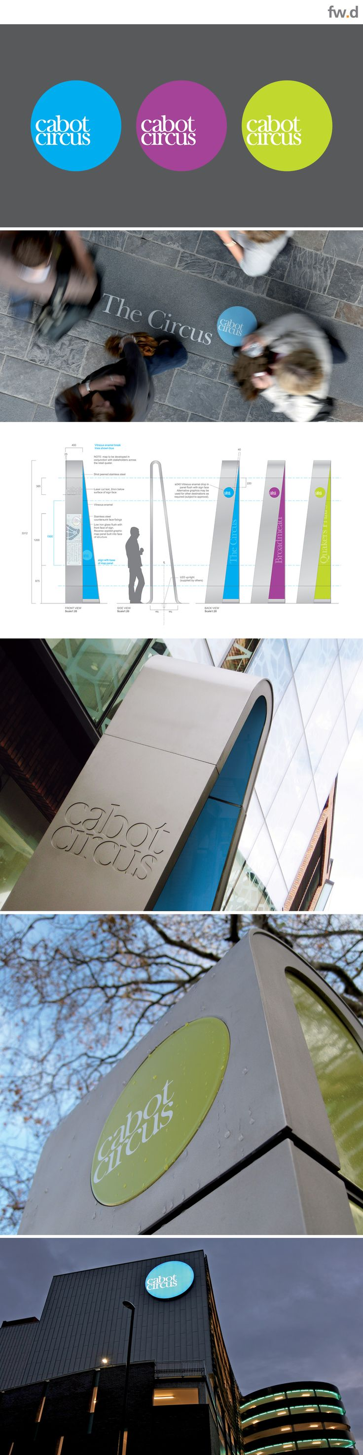 Brand promotion and implementation throughout the Cabot Circus retail destination by fwdesign. www.fwdesign.com #material #signage #brand