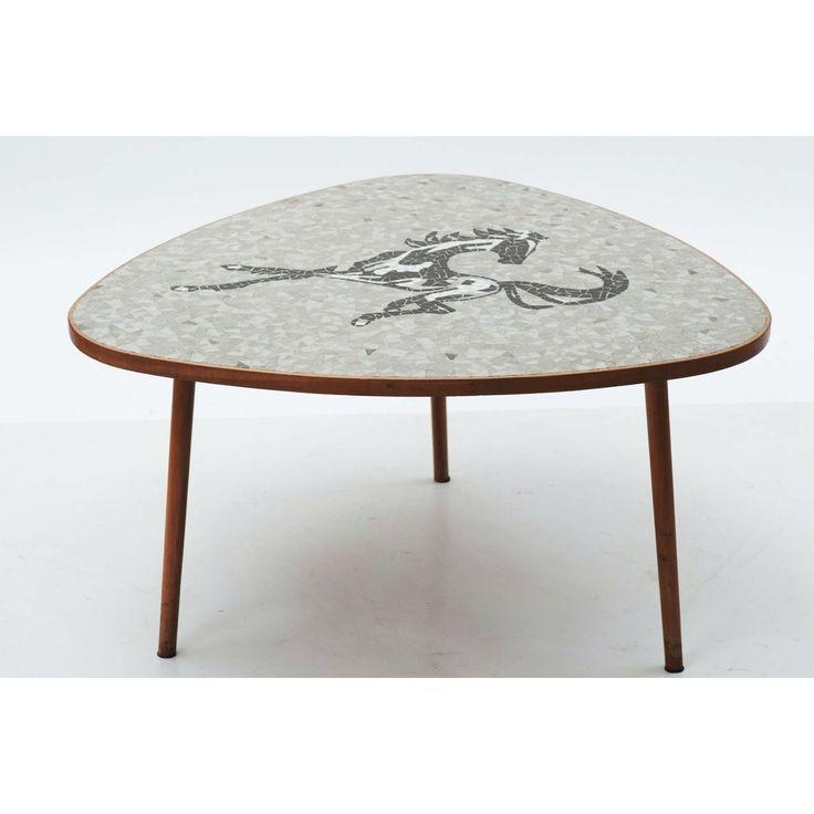 Tavolino triangolare paese Svizzera anni 60 colori grigio marrone in pietra e legno